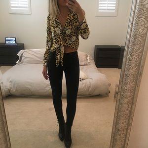 NEW Topshop pajama cheetah leopard tie top 0 / 2